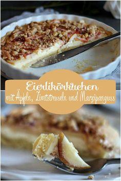 Apfelkuchen mit Eierlikör und Zimtstreuseln - Zum Rezept für die Apfeltarte einmal hier entlang: Eierlikörkuchen, Tarte Rezept, Apfel
