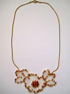 Anthropologie inspired hand beaded flower necklace