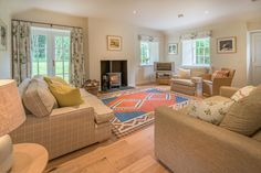 The light and airy lounge at Gardener's Cottage near Hawick.