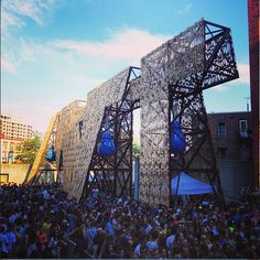 MoMA PS1 Party Wall --- made of leftover materials from skateboard manufacturing process, it has a mist, pools, and sprays water out the back