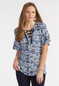 4e0b2ecc061 Cato Fashions Lace Up Admiral Scroll Knit Top  CatoFashions Your Style