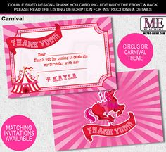 Carnival Thank You Notes, Circus or Carnival Cards, Circus Thank You Notes…