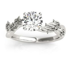 Allurez Solitaire Tulip Vine Leaf Engagement Ring Setting 14k White... ($745) ❤ liked on Polyvore featuring jewelry, rings, leaves engagement ring, 14k engagement ring, leaf ring, floral engagement rings and floral ring
