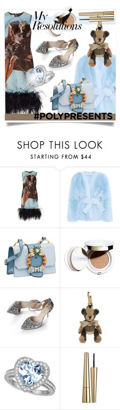 """""""#PolyPresents: New Year's Resolutions"""" by kari-c ❤ liked on Polyvore featuring Prada, Diane Von Furstenberg, Miu Miu, Clarins, Burberry, Victoria Beckham, contestentry and polyPresents"""