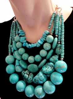 Jewelry Turquoise Genuine turquoise gemstones in the coolest statement necklace EVER! Turquoise Gemstone, Coral Turquoise, Turquoise Jewelry, Nautical Jewelry, Beaded Jewelry, Silver Jewelry, Handmade Jewelry, Jewelry Necklaces, Chunky Jewelry