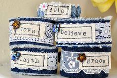 Vintage lace denim cuff bracelet by pattymarker on Etsy, $10.00