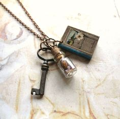 Book Lover Handmade Copper Chain Necklace With by ComeDayGoDay