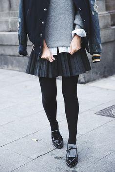 Varsity Jacket Diesel Leather Pleated Skirt Loafers Ouftit Street Style