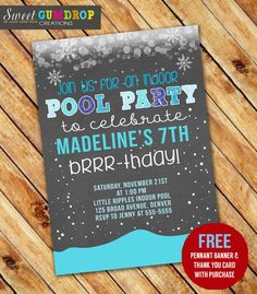 Winter Indoor Pool Party Birthday Invitation  by SweetGumdrop