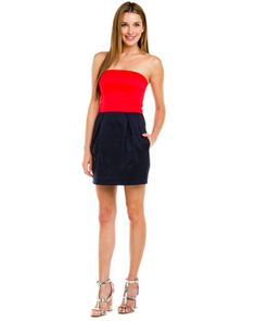 French Connection 'Wizard' Valerian Red & Navy Colorblock Strapless Dress