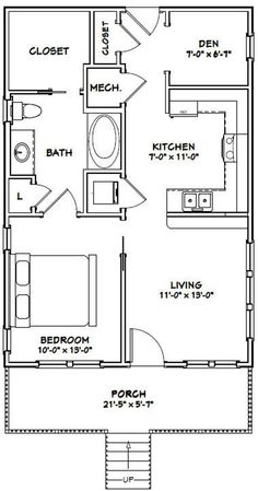 One Bedroom Guest House Plans Inspirational House 1 Bedroom 1 Bath 704 Sq Ft Pdf Floor 1 Bedroom House Plans, Guest House Plans, Small House Floor Plans, Cabin Floor Plans, Cottage House Plans, Guest Houses, Two Bedroom Tiny House, Small Bathroom Floor Plans, House 2