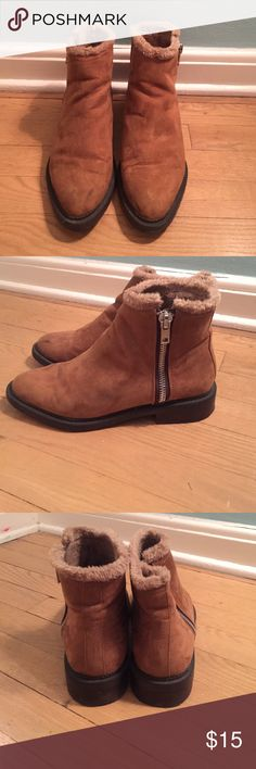 Suede Booties from forever21, suede outer and fuzzy but thin lining, lightly used, small heel (1/2in), side zipper Forever 21 Shoes Ankle Boots & Booties