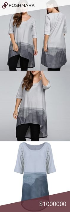 "Pre-Order Stormy Day Plus Size Blouse XL-5XL $29 when available. Gorgeous, oversized asymmetrical blouse in hues of bluish grey. IMPORTANT: Sizes XL-5XL. The ""Original Price"" is the est. price this item will be listed at when available. Reserve your pretty piece of heaven today comment your size.This is a new, quality, unbranded, XEMODA boutique item. Poly bag sealed. Like this listing to be notified of arrival. Wholesale available. XEMODA Tops Blouses"