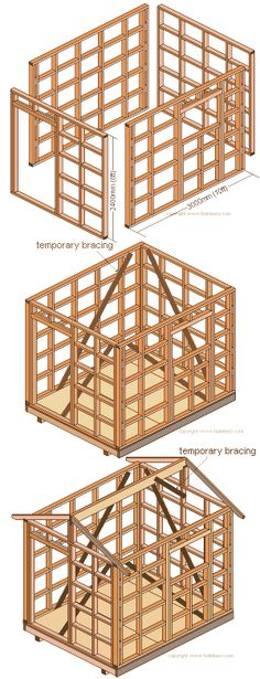 shed wall-frame blocking, standing and fixing the roof beam