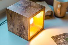 wooden lamp Q#22 handmade. light oak desk lamp. wood lamp.