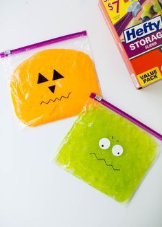 Monster slime! A fun kids activity and the perfect science experiment to do at home or at school. Store in a quart size Hefty Slider bag and draw monster faces on top to make a fun craft for Halloween. Slime ingredients: ½ cup glue and ½ cup water and add food coloring to your liking!