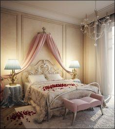 romantische rosa blau creme schlafzimmer design - Schlafzimmer Romantisch Modern