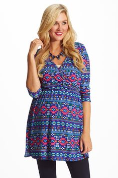 Royal Blue Multi Color Printed Knit Maternity/Nursing Top