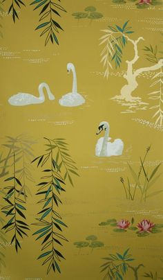 The wallpaper Swan Lake - from Nina Campbell is wallpaper with the dimensions m x 10 m. The wallpaper Swan Lake - belongs to the popul Swan Wallpaper, Scenic Wallpaper, Luxury Wallpaper, Wallpaper Decor, Modern Wallpaper, Designer Wallpaper, Osborne And Little Wallpaper, Wallpaper Designs, Beautiful Wallpaper