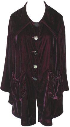 Lola Frocks: Dark berry velvet Swing Coat
