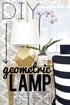 DIY Gold Geometric Lamp #diy #lighting #lamp