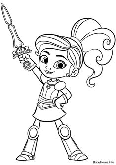 Nella The Princess Knight - High-quality Free Coloring From images ideas from NEO Coloring Pages Free Halloween Coloring Pages, Shark Coloring Pages, Coloring Sheets For Kids, Cartoon Coloring Pages, Free Printable Coloring Pages, Coloring Pages For Kids, Coloring Books, Nella The Princess Knight, Knight Drawing