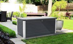 trädgårdsförvaring, dynbox, patiobox, gardening, patio Metal Floor, Outdoor Furniture Sets, Outdoor Decor, Built In Storage, Garden Styles, Contemporary, Modern, Storage Spaces, Outdoor Living