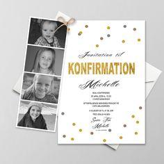 Konfirmationsinvitationer - Få designet din egen skabelon - Se her Note To Self, Mockup, Diy And Crafts, Table Settings, Invitations, Kids, Inspiration, Communion, Wedding