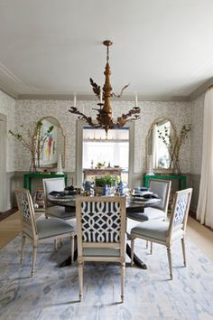 Chinoiserie, pagodas, faux malachite console tables, vintage elephant garden stools, Schumacher Imperial Trellis II fabric for chair, ikat rug, wallpaper: Quadrille San Marco Reverse Gray on Almost White