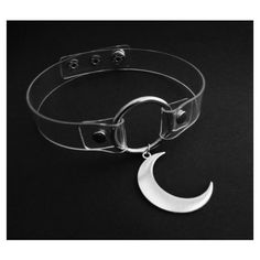 clear moon choker, clear o ring collar, pastel goth, grunge, nu goth,... ($21) ❤ liked on Polyvore featuring jewelry, necklaces, snap necklace, collar choker, choker collar necklace, goth necklace and goth choker