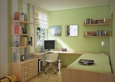 Attractive Wall Colors for Small Rooms; Teenage Girl Bedroom : Green Wall Colors For Small Rooms Boys Bedroom Learning Desk Teen Room Designs, Small Bedroom Designs, Small Room Design, Kids Room Design, Bathroom Designs, Bed Design, Home Design, Wall Design, Layout Design