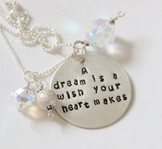 Cinderella Graduation Quote Necklace A Dream by whiteliliedesigns, $49.00