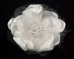 "3.0"" Bridal Flower Hair Clip in White with Glass Pearl Accents / Fabric Hair Piece / Fascinator / Unique Barrette / Hair Accessory via Etsy"