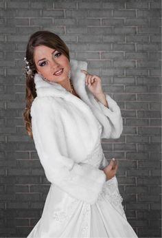 Wedding Ivory Faux Fur Shrug Bridal Bolero Jacket Coat Long Sleeve Size S-xl B20 #BolerosShrugs