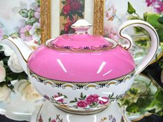 Aynsley Tea Pot Pink Floral and Birds Teapot Mikado Pattern 1920'S | eBay
