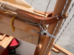 The mahogany gaff jaws were laminated to give its curved shape strength. The boom gooseneck is an off-the-shelf fitting for a Mirror dinghy. Wooden Boat Building, Boat Building Plans, Wooden Sailboat, Wooden Boats, Sailboat Plans, Mirror Dinghy, Model Sailboats, Utility Boat, Flat Bottom Boats
