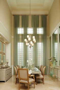 designed this dining room for a Toll Brothers model and the window treatment over glass block was my challenge. Tall Window Treatments, Window Coverings, Glass Block Windows, Long Curtains, Blinds Curtains, Valances, Dining Room Windows, Tall Windows, Interior Decorating