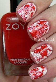 Paint nails white (or whatever base color you want). To get the splatter effect you need to dip a straw into the nail polish and blow it at your nails.
