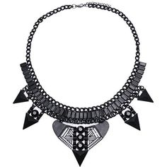 Yoins Yoins Triangle Necklace (11 BAM) ❤ liked on Polyvore featuring jewelry, necklaces, accessories, colares, black, black triangle necklace, black statement necklace, triangle necklace, statement necklace and kohl jewelry
