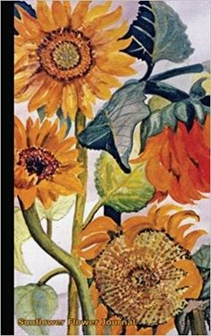 Sunflower Flower Journal Travel Writing DIY Diary Planner Note Book - Softcover, 100 Lined Pages + 8 Blank (54 Sheets), Small Lightweight 5x8  - Do-It-Yourself (DIY) undated college ruled writing pad,  small,