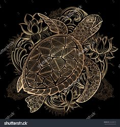Gold Vector Hand Drawn Sea Turtle And Lotus Flowers On Black Background - 422448919 : Shutterstock
