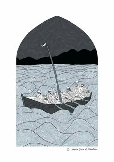 """Bonnie Prince Charlie illustration for the official Clan Macleod Magazine, depicting a scene from """"The Faithful Steersman"""" story.  #contemporary #illustration #art #magazine #handdrawn #vector #stormy #sea #blue #Scottish #Scotland #Fife #urbanreiver"""