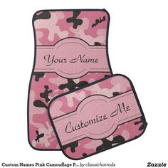 Custom Names Pink Camouflage Personalized Floor Mat