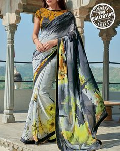 Digital Printed Saree For Holi made from pure Italian georgette.