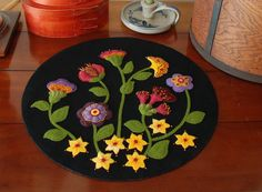 Jacobean wool applique penny rug table runner Jacobean flowers hand dyed rug hooking wool felt primitive felted wool quilt block quilting