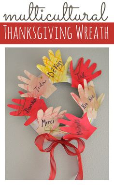 What a sweet idea for Thanksgiving  - teach kids how to say thanks in a bunch of languages by creating a thanksgiving wreath.