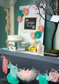 Pretty decor at a Georgia Peach baby shower! See more party ideas at CatchMyParty.com!