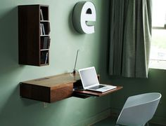 Designed by Seattle based furniture company Urbancase, the Ledge is a clever wall-mounted furniture unit perfect for use as a writing desk, bookshelf, or media center. #office