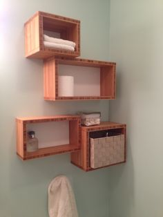 Bamboo ply bathroom storage that I made. Bamboo Bathroom, Bathroom Storage, Floating Shelves, House, Home Decor, New Houses, Washroom, Bathroom Vanity Cabinets, Decoration Home