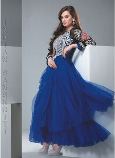 Royal blue nett gown style #anarkali with resham & zari embroidery